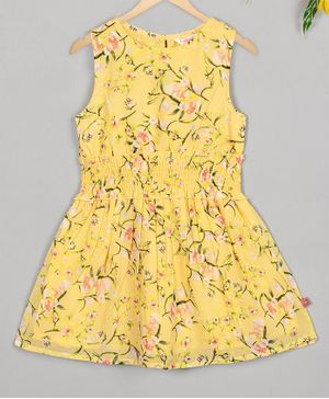 Budding Bees Sleeveless Floral Printed Waist Elasticated Dress - Yellow