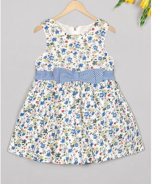 Budding Bees Sleeveless Floral Printed Bow Decorated  Dress - Blue