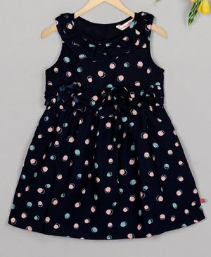 Budding Bees Sleeveless Dots Printed Ruffled Dress - Blue