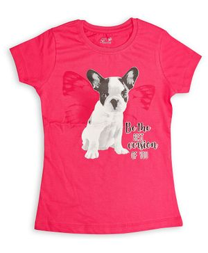 Soft Touche Dog Print Half Sleeves T-Shirt - Pink