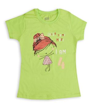 Soft Touche Half Sleeves Laugh Some More Printed T-Shirt - Green