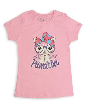 Soft Touche Half Sleeves Cat Printed T-Shirt - Pink