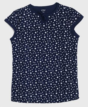 KIDSCRAFT Cap Sleeves Star Print Top - Blue