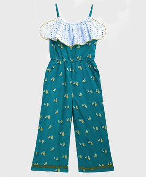 KIDSCRAFT Sleeveless Bird Print Detailing Jumpsuit - Green