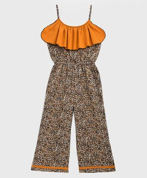 KIDSCRAFT Sleeveless Tiger Print Jumpsuit - Brown