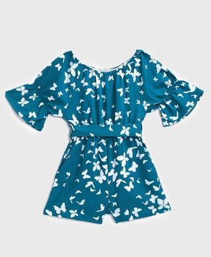 KIDSCRAFT Half Sleeves Butterfly Printed Jumpsuit - Blue