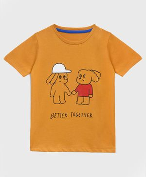 KIDSCRAFT Half Sleeves Cartoon Printed Tee - Brown