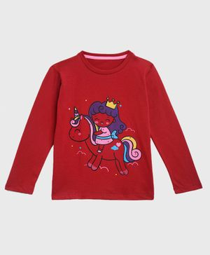 KIDSCRAFT Full Sleeves Girl Riding Unicorn Printed Tee - Maroon