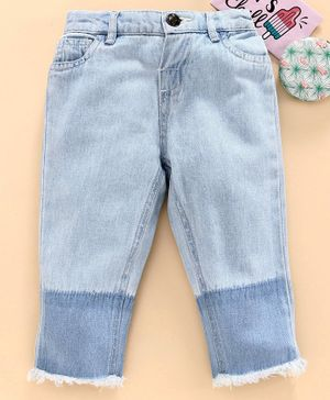 Under Fourteen Only Solid Colour Full Length Jeans - Light Blue