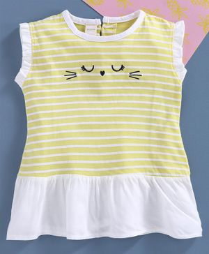 Under Fourteen Only Sleeveless Striped Top - Yellow