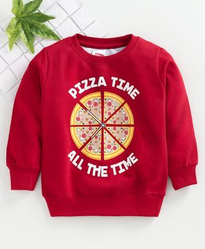 Babyhug Full Sleeves Sweatshirt Pizza Print - Maroon
