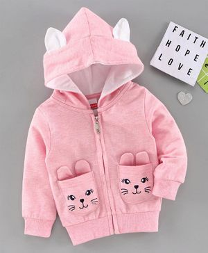 Babyhug Full Sleeves Embroidered Hooded Sweatshirt - Pink