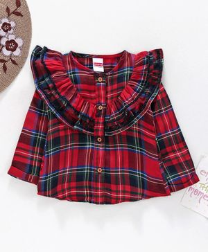 Babyhug Yarn Dyed Checks Full Sleeves Shirt - Red