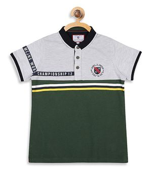 Monte Carlo Half Sleeves Color Blocked Tee - Green