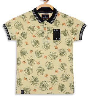 Monte Carlo Half Sleeves Leaves Print Tee - Yellow