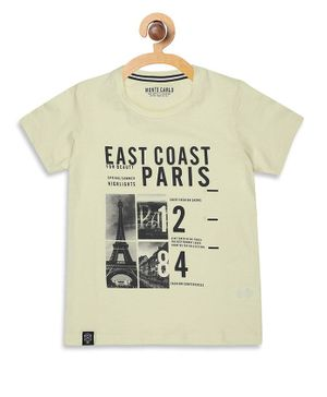 Monte Carlo Half Sleeves East Coast Print Tee - Light Yellow