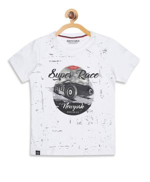 Monte Carlo Half Sleeves Super Race Print Tee - White