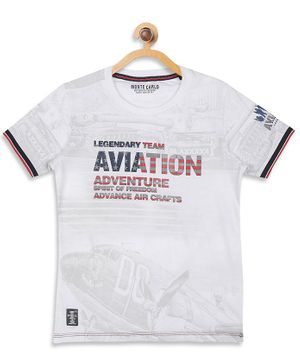 Monte Carlo Half Sleeves Aviation Print Tee - White
