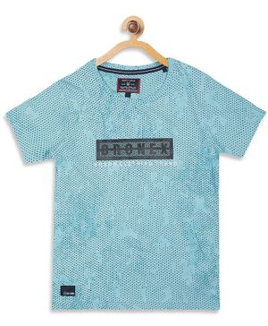 Monte Carlo Half Sleeves Urban Clothing Print Tee - Sky Blue