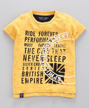 Monte Carlo Ride Print Half Sleeves Tee - Yellow