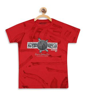 Monte Carlo Half Sleeves Printed Tee - Red