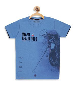 Monte Carlo Half Sleeves Miami Beach Polo Print Tee - Blue