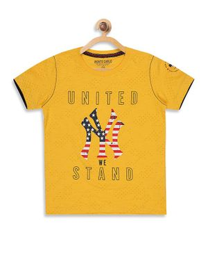 Monte Carlo Half Sleeves United Stand Print Tee - Yellow
