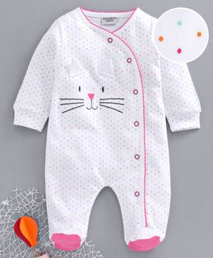 Wonderchild Full Sleeves Small Dots Print Footed Romper - White