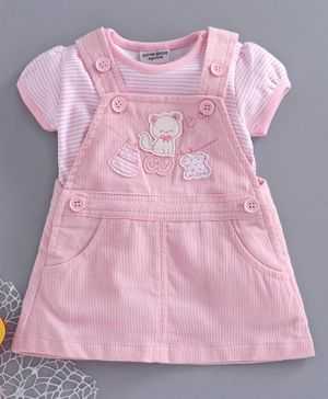 Wonderchild Short Sleeves Striped Tee With Kitty Patch A Line Dungaree - Light Pink