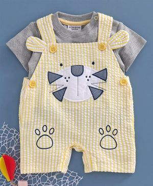 Wonderchild Short Sleeves Tee With Striped & Lion Design Dungaree - Yellow