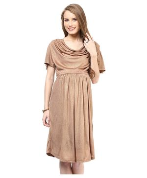 Mamacouture Half Sleeves Cowl Neck Maternity Dress - Golden