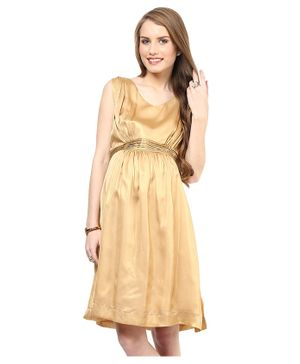 Mamacouture Sleeveless Solid Maternity Dress - Golden