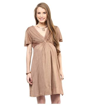 Mamacouture Half Sleeves Front Knot Maternity Dress - Golden