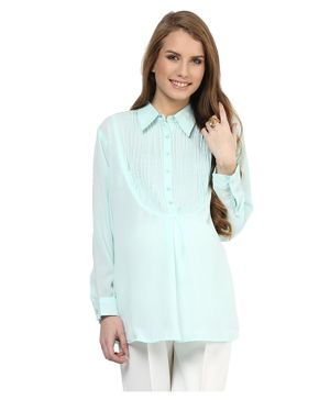 Mamacouture Full Sleeves Pin Tuck Maternity Wear Shirt - Light Blue