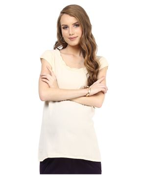 Mamacouture Maternity Wear Sleeveless Solid Top - Cream