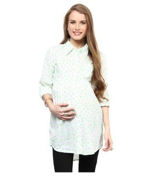 Mamacouture Full Sleeves Maternity Wear Star Print Shirt - Green