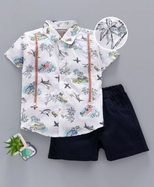 Little Kangaroos Half Sleeves Shirt with Shorts Car Print - Blue White