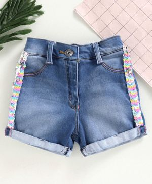 Little Kangaroos Knee Length Denim Shorts with Sequins - Light Blue