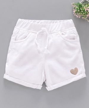 Little Kangaroos Knee Length Elasticated Shorts Glitter Heart - White