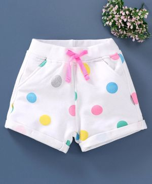 Little Kangaroos Knee Length Glitter Print Shorts - White