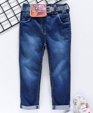 Little Kangaroos Full Length Solid Color Jeans with Belt - Dark Blue
