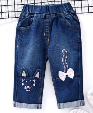 Little Kangaroos Full Length Pull On Denim Jeans Kitty Embroidery - Dark Blue