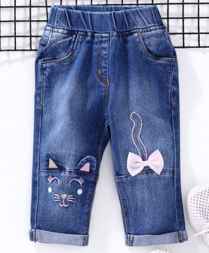 Little Kangaroos Full Length Denim Jeans Kitty Embroidery - Light Blue