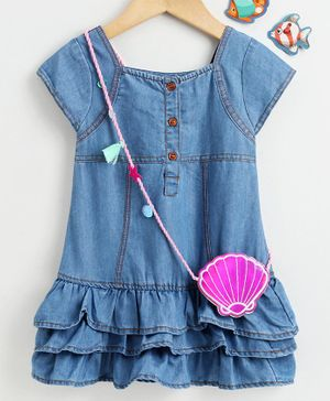 Little Kangaroos Short Sleeves Denim  Frock with Sling Batch - Blue