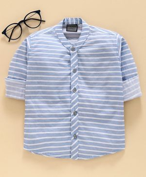 Rikidoos Full Sleeves Striped Shirt - Light Blue