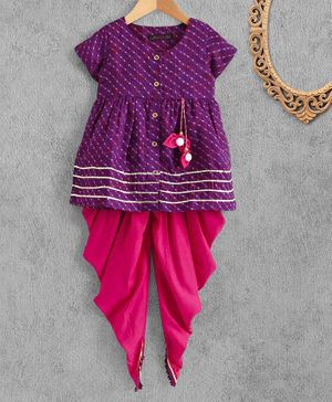 Pspeaches Leheriya Print Half Sleeves Kurta With Dhoti Set - Purple
