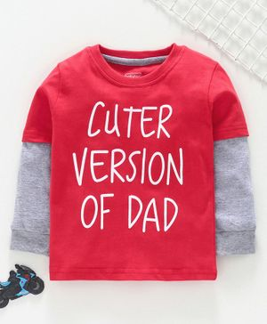 Babyoye Full Sleeves T Shirt Cuter Version of Dad Print - Red