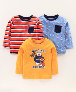 Babyhug Full Sleeves Tees Pack of 3 - Blue Orange
