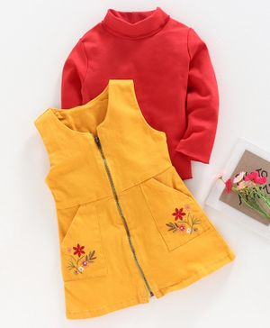 Babyhug Frock with Full Sleeves Inner Tee Floral Embroidered  - Red Yellow
