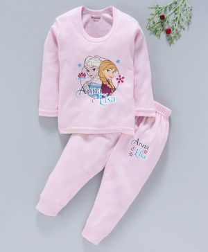 Bodycare Full Sleeves Thermal Set Anna & Elsa Print- Light Pink